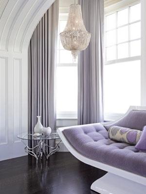 Lilac Grey Curtains On Dark Wood Floor
