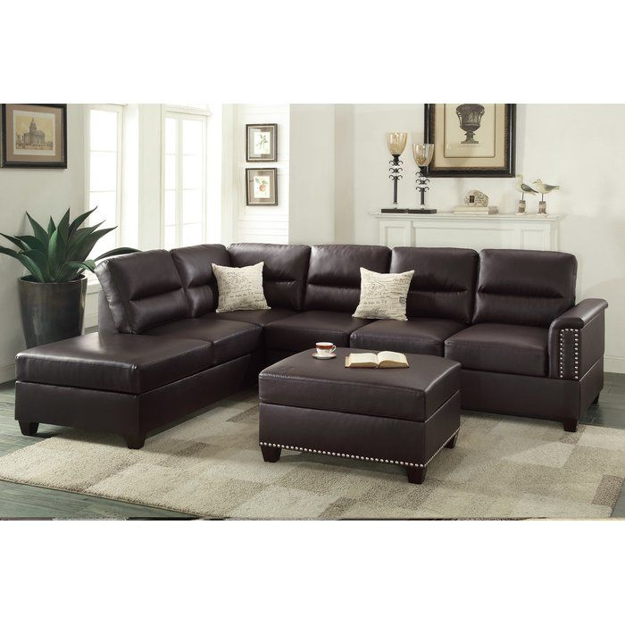 Bobkona Toffy Reversible Sectional With Ottoman Couch