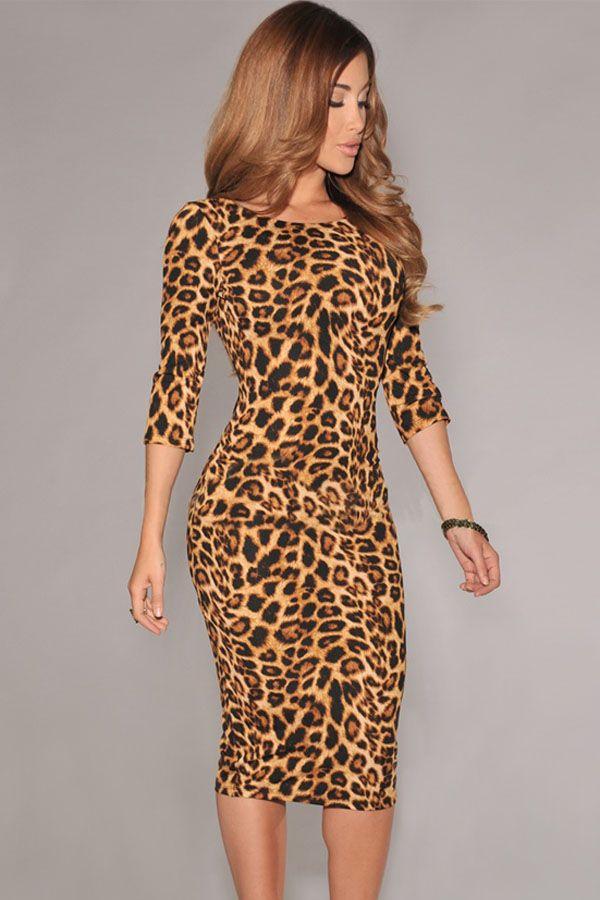 Leopard Print Low V Back Midi Dress