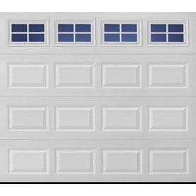 Pella Sutherland 2l 108 In X 84 In Insulated True White Single Garage Door With Windows 99605206 Garage Door Windows Garage Door Styles Single Garage Door