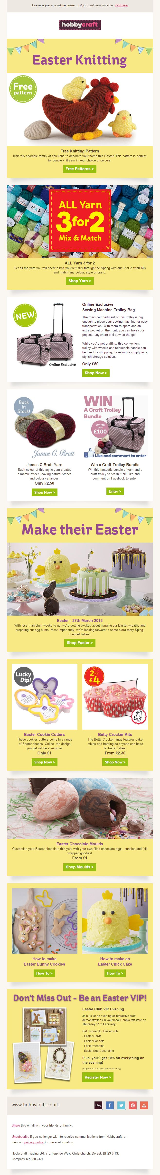94 best easter emails images on pinterest email marketing hobbycraft easter newsletter including free knitting pattern 3 for 2 offers recommendations competition negle Choice Image