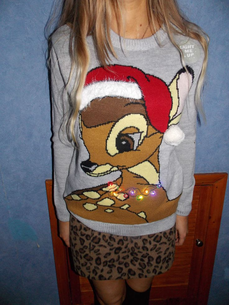 Primark DISNEY BAMBI LIGHT UP CHRISTMAS JUMPER Santa Hat Sweater  #Primark #Jumpers