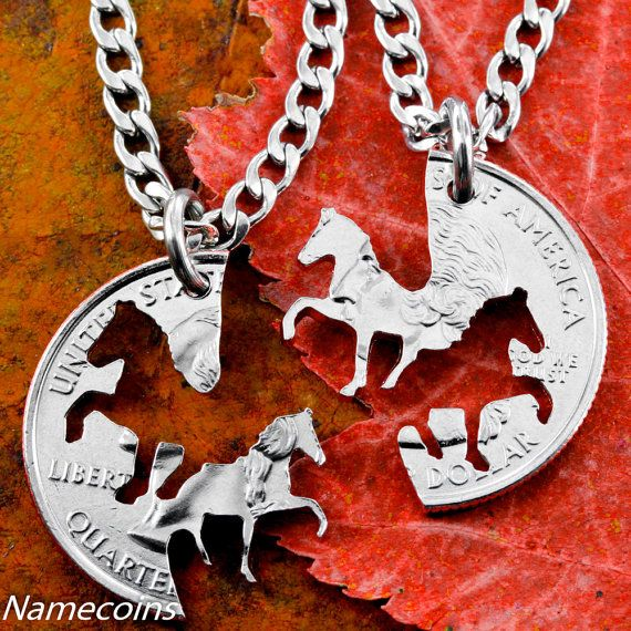 Horse Necklaces Cowgirl Best Friends Jewelry by NameCoins on Etsy, $34.99