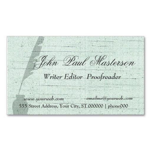 Green Design Writer Journalist Business Card