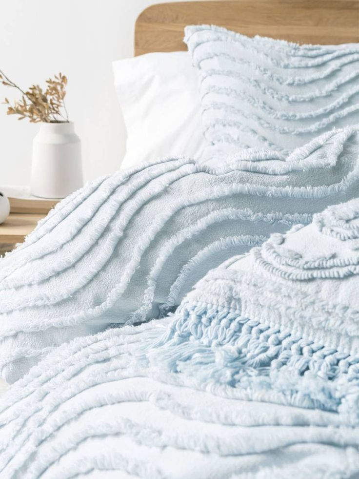 DRIFT SOFT BLUE QUILT COVER SET, MODERN CHENILLE, CONTEMPORARY BEDDING, TEXTURED BEDDING, BOHO BEDDING, VINTAGE BEDDING  LINEN HOUSE