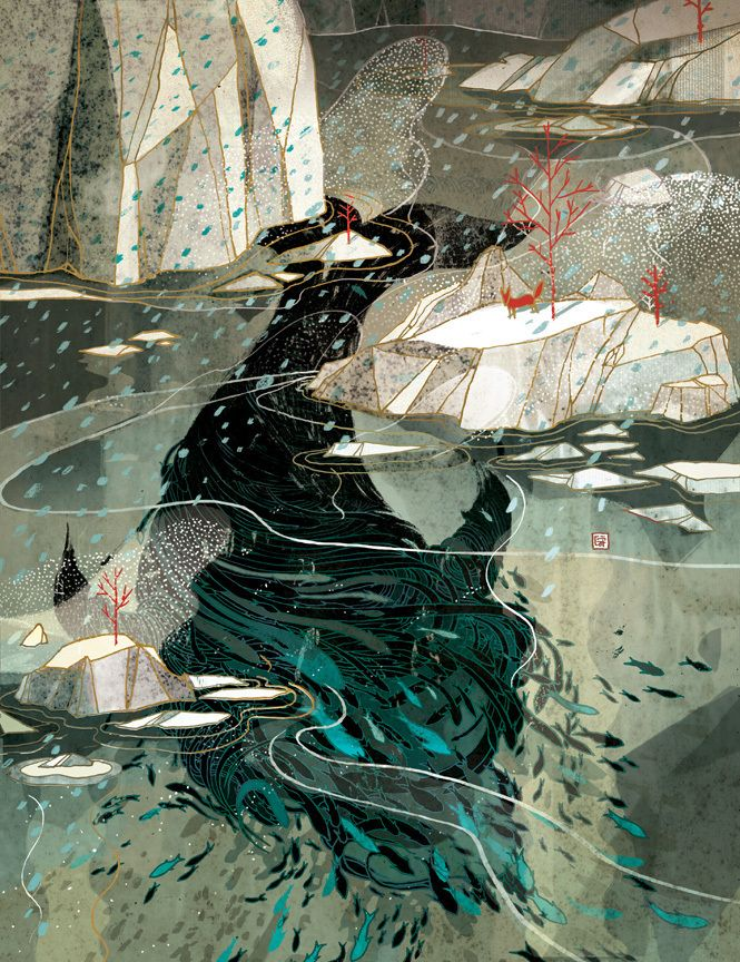 """""""Treacherous Waters"""" by Victo Ngai - December 2012 cover art for PLANSPONSOR.   """"I really enjoy this process of coming up visuals and metaphors base off a single abstract phrase. I may never understand the articles I illustrate for, but I sure have my own eleborate tales behind each of those images. (I would rather remember this piece as """"a red fox watching a magestic whale drifting apart into tiny fishes in an icy ocean"""" than """" securities lending disclosures"""" anyway...)"""""""
