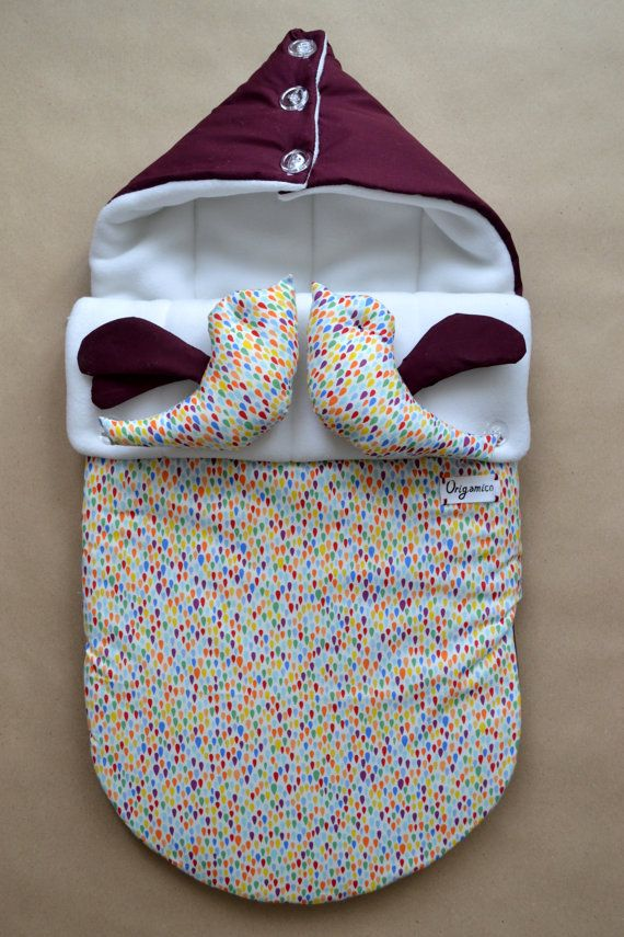 Sleeping bag for newborn (winter), Swaddle Wrap for Babies, SLEEP SACK, Knit Cocoons, bird, winter, wine, grape, vinous, bordo, confetti