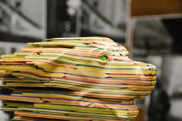 New Recycled Skateboard Deck Sculptures by Haroshi