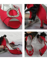 4'' High Heel Red Rhinestone Black Bow Satin Peep Toe Wedding Shoes $49.99