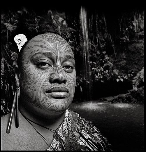 Tattooing was outlawed in New Zealand in 1907 but the indigenous Maori people are recapturing their heritage through body art, such as a full facial moko, or mask pattern.