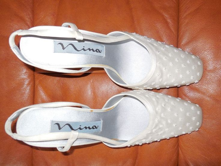 WOMENS BRIDAL BEADED SLINGBACKS NINA 8.5M  #Slingbacks