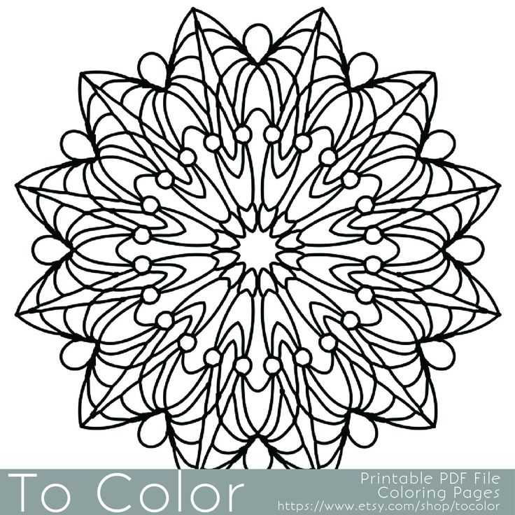 Simple Printable Coloring Pages For Adults Gel Pens Mandala Pattern PDF JPG Instant