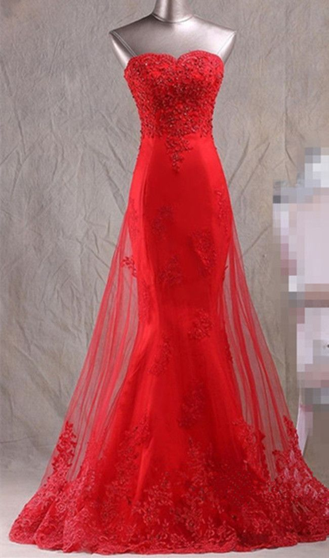 New Arrival Prom Dress,Modest Prom Dress,evening gowns,red prom dresses,lace prom dresses,sexy mermaid dress,lace mermaid evening dress by DestinyDress, $217.31 USD