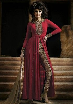 Red Semi-Stitched Georgette Party Wear Salwar Suit
