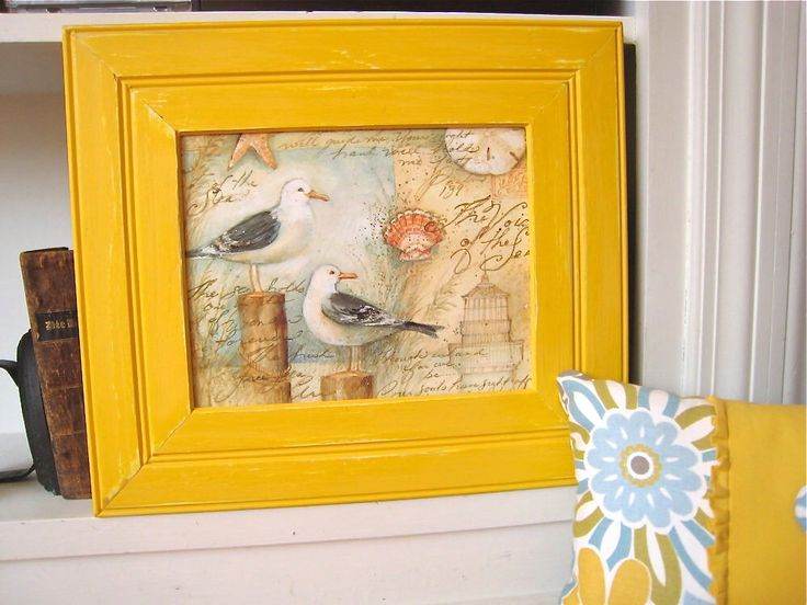 yellow picture frame yellow photo frame distressed frame buttercup yellow frame beach wall decor handmade photo - Yellow Frame