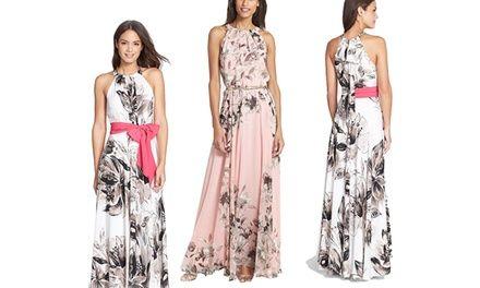 Vestito lungo da donna con trama floreale, ideale da indossare in serate primaverili o estive