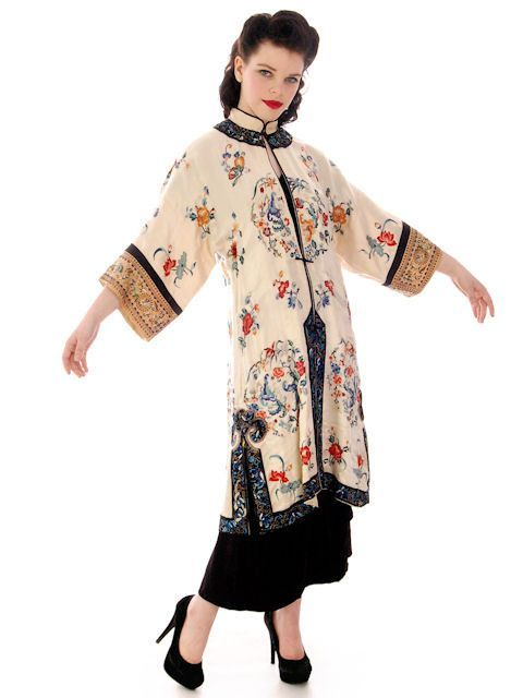 Antique White Silk Satin Vintage Chinese Coat Womens Silk Embroidered – The Best Vintage Clothing