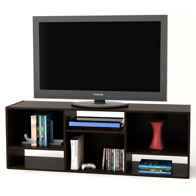 The Contemporary TV Stand/Bookcase can be placed vertically for use as a TV stand or horizontally for use as a bookcase. This piece offers a Black Forest finish and provides ample open storage with contemporary styling.