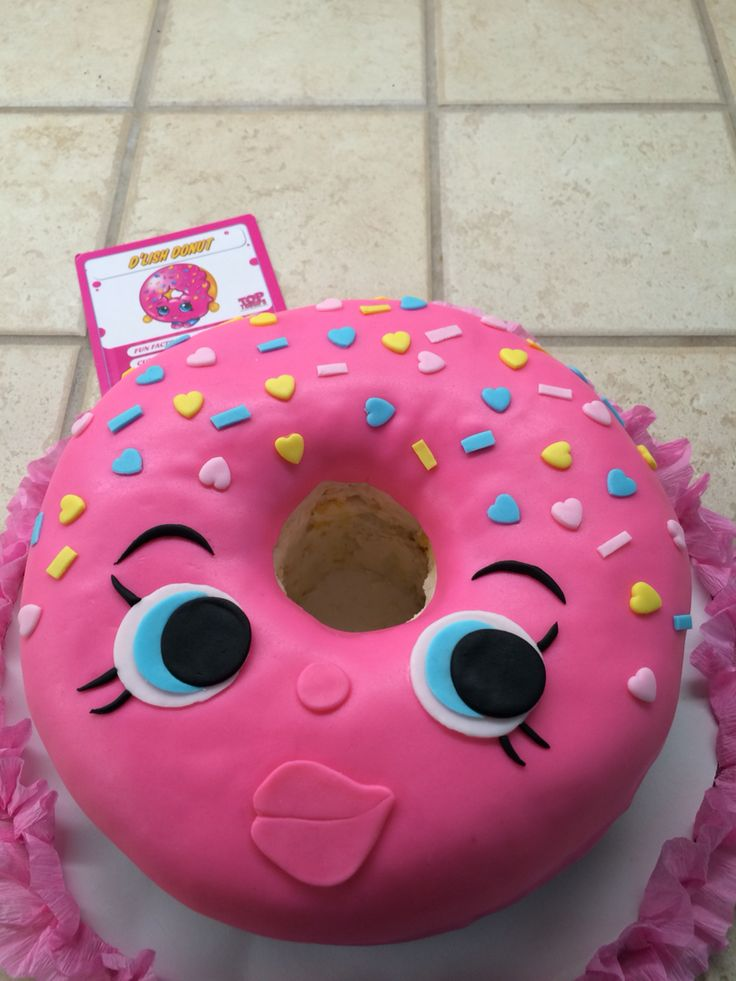Delish donut shopkin cake for Alyssa's 7th birthday!