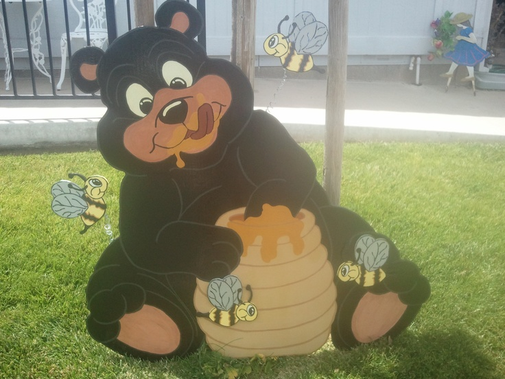 Shirley's newest Creation..This bear is having Fun and the Bees are not bothering him. He is 45 Inches wide and high