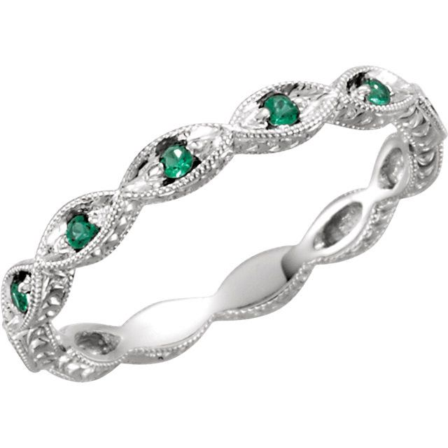 14kt White Gold Emerald Anniversary Band – Sparkle & Jade