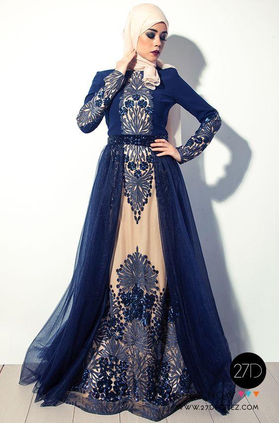 Long Sleeved hijab evening dress -27dressez-Hijab Fashion