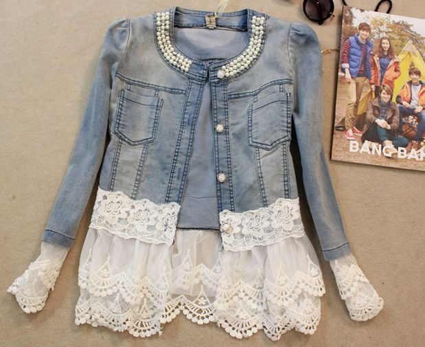 Cheap jacket set, Buy Quality coat jacket women directly from China jacket casual Suppliers: Spring women outerwear slim lace patchwork long-sleeve denim short jacket lady vintage jeans jacket Coat  Size