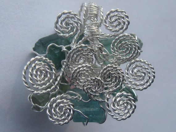 The Tourmalines Flower Pendant - Different Tourmalines Wire Wrapped in Sterling Silver