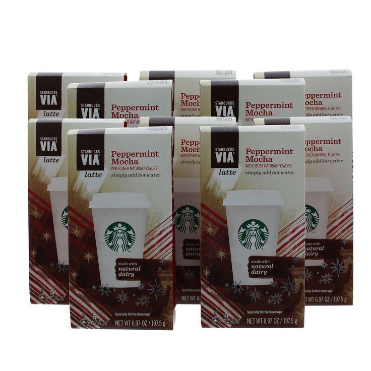 100 cups starbucks via peppermint mocha latte single serve