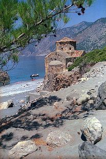 The Byzantine church of Agios Pavlos near Agia Roumeli in Chania, Crete, Greece