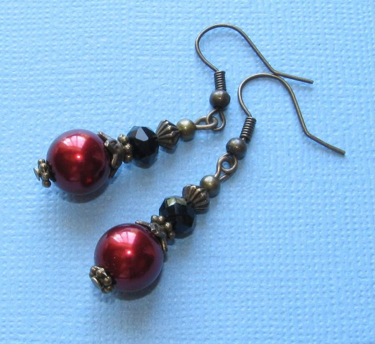 RED Shell Pearl Bronze Tone Black Crystal Roundel FISH HOOK Earrings OPTIONS  #BusyBeeBumbleBeads #DropDangle