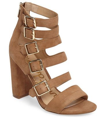 yasmina buckle strap gladiator sandal by Sam Edelman. Bold suede straps ladder from the toe to above the ankle on a striking gladiator sandal lifted even higher by a wrapp...