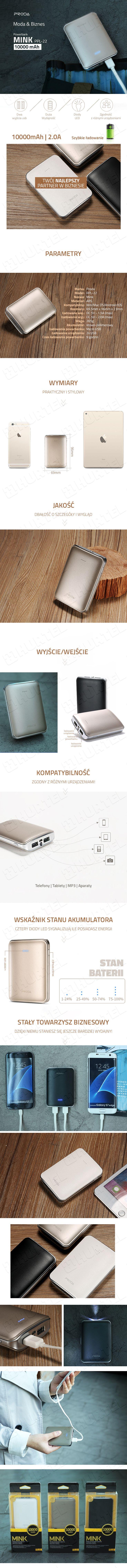 Power bank przenośny bank energii PRODA PPL-22 Mink Series 10000mAh biały