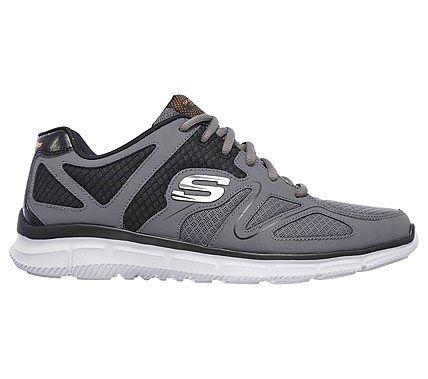 Skechers Men's Satisfaction Flash Point Memory Foam Lace Up Jogger Shoes (Charcoal/Orange)
