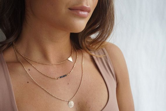 Gold Chain Choker Necklace Set Gold Plated Layering by tooposhh