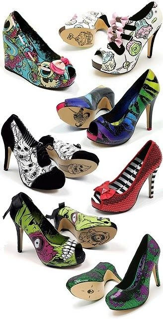 Bright Heals by gabriela... Perfect timing for halloween.. by my favorite pair are the alice and wonderlands (2nd from the top, on the right)