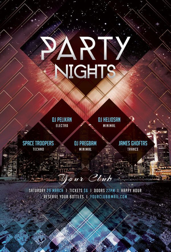 Party Nights Flyer by styleWish (PSD template on Graphicriver)