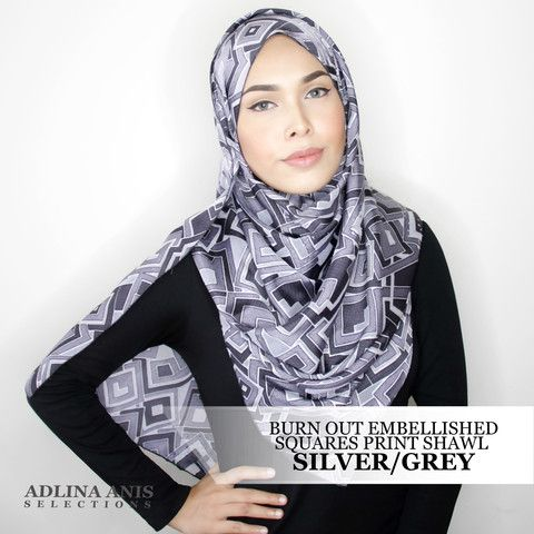 BURN OUT EMBELLISHED SQUARES PRINT SHAWL - SILVER/GREY  $48.50 SGD  Material: Satin weave   Length: 200cm  Width: 66.5cm  Fabric Care: Dryclean or Hand wash only and do not wring.   Iron only on the wrong side, on medium setting.  You'll find only the best hijabs / tudungs / scarves that are shipped worldwide.  Click through to the website to find out more.
