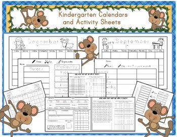 Kindergarten Calendar/Math Journal Sheets Includes Blank a Traceable numbers.