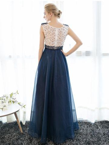 kup Women's Mesh Lace Patchwork Slim Long Sleeveless Evening Dress & Suknie na ślub i eventy - w Jollychic