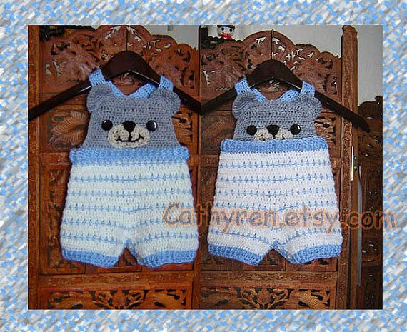 These little bear overalls shorties are great for spring warm days. The waist band can be turned up and down to have Peek-A-Boo bear face!  Skill level: Intermediate It is easy to make. I added a lot of step-by-step photos and lots of tutorial videos to help you work through this project.  This pattern includes 4 sizes: (American Term.) New born, 0– 3 months 3 - 6 months 6 - 12 months 12-18 months  Material: DK yarn; Hook US H8/5.0mm  (You can use worsted yarn with hook: 5.0mm/ US H...