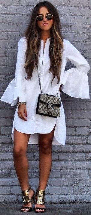 #fall #trending #outfits |  White 70's Tunic Dress