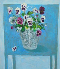 Andrea Letterie, viooltjes, Gemengde techniek op paneel, 40x45 cm, €.600,-
