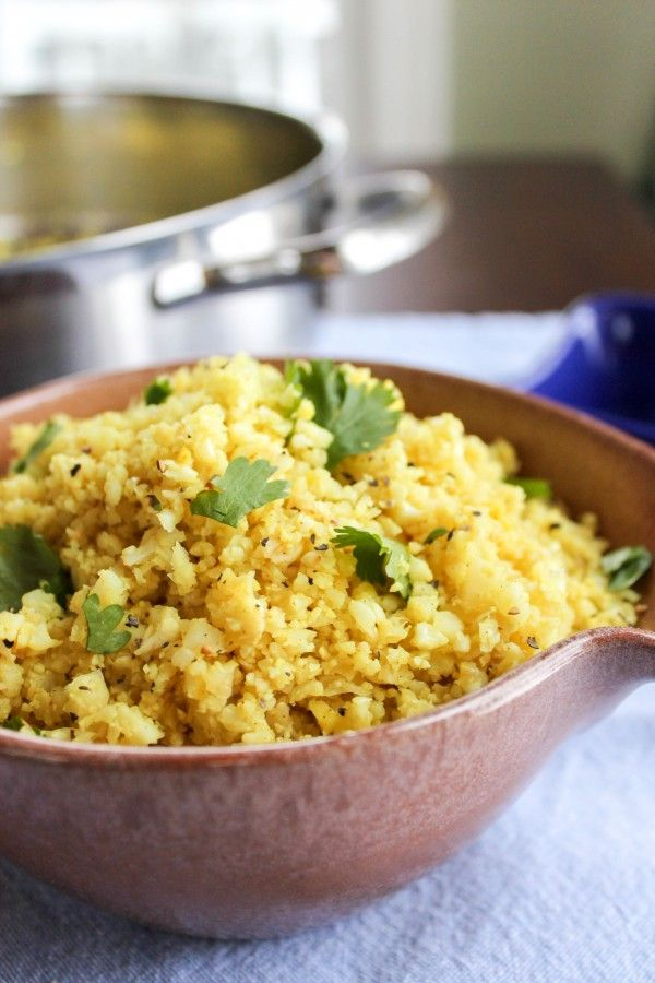 "Indian Spiced Cauliflower ""Rice"" (use vegan butter or coconut oil instead of butter)"