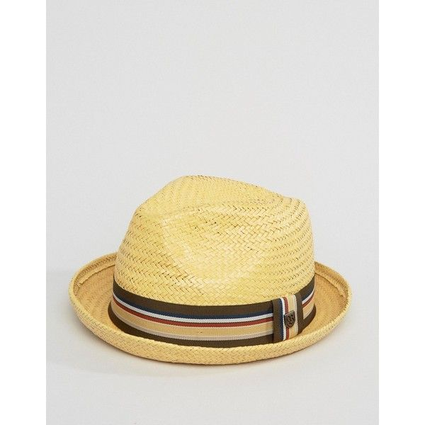 Brixton Castor Fedora Straw Hat ($55) ❤ liked on Polyvore featuring men's fashion, men's accessories, men's hats, tan, mens wide brim fedora hats, mens straw fedora hats, mens wide brim straw hat, mens straw hats and men's brimmed hats