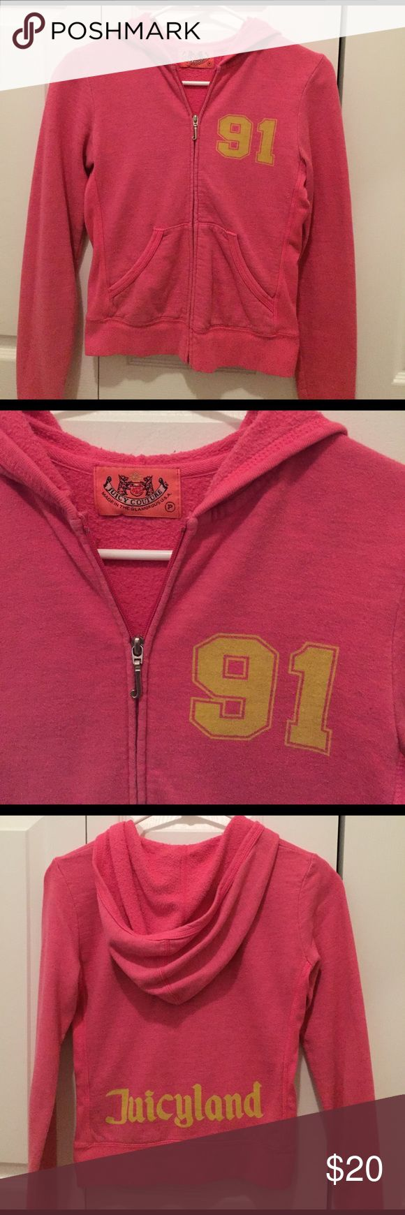 💕 Juicy Couture zip-up hoodie Adorable pink zipper Juicy Couture sweater 💕 size: petite Juicy Couture Sweaters