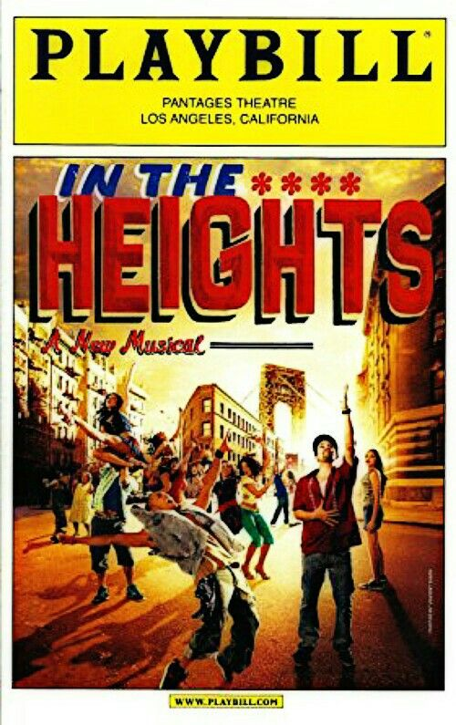 """Los Angeles, CA premiere of """"In the Heights"""" at the Pantages Theatre, located at 6233 Hollywood Boulevard ... First National Tour ... June 22 - July 25, 2010 ... Scenic Design by Anna Luizos ... Choreography by Andy Blankenbuehler ... Music and Lyrics by Lin -Manuel Miranda ... Directed by Thomas Kail . The cast included Lin-Manuel Miranda, Elise Santora, Rogelio Douglas, Jr., Arielle Jacobs, Shaun Taylor-Corbett, Natalie Toro, and Daniel Bolero."""