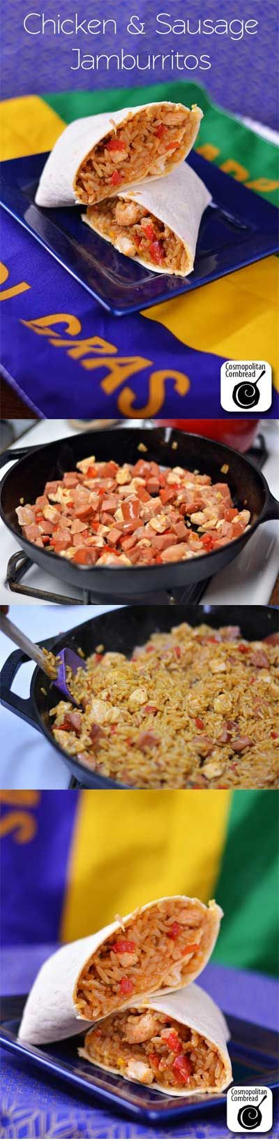 "Chicken and Sausage ""Jamburittos"" have all the flavor of jambalaya in an easy-to-eat-on-the-go package. Get the recipe from Cosmopolitan Cornbread @Zatarains  #SundaySupper"