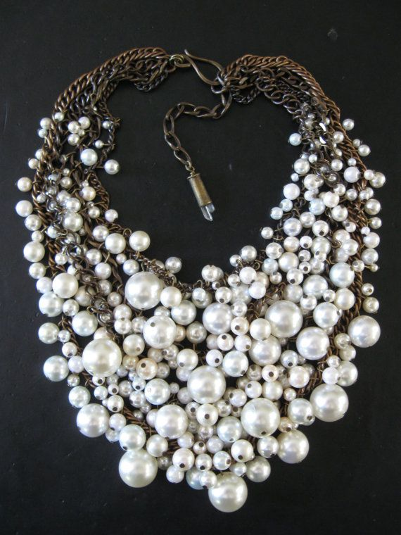 Pearl Bib Necklace - Mermaid Farts - Creamy White and Brass Recycled Faux Pearls Statement Necklace