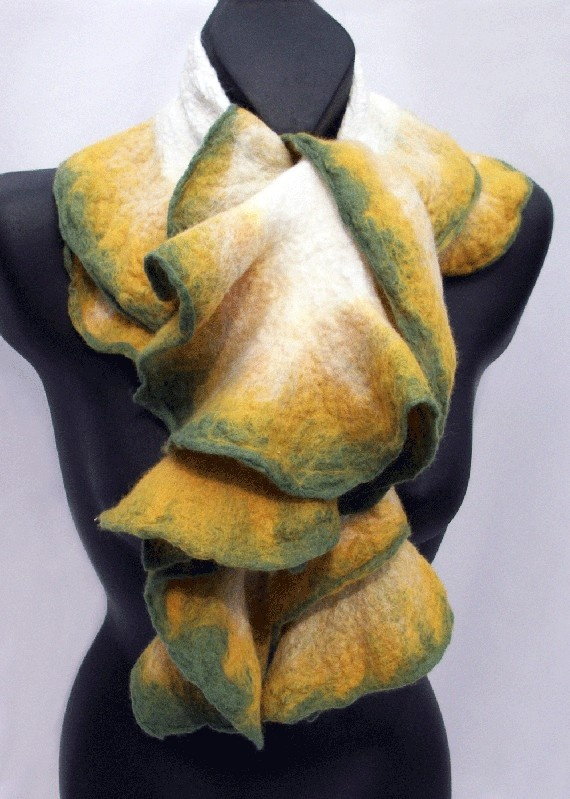 Nuno Felted Scarf - White Yellow and Green with Ruffled Edges